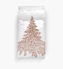 Sparkling christmas tree rose gold ombre Duvet Cover