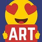 I love ART Heart Eye Emoji Emoticon Funny Artistic Artists Painters Graphic Tee T shirt by DesIndie