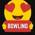 I love BOWLING Heart Eye Emoji Emoticon Funny BOWLING players Graphic Tee T shirt by DesIndie