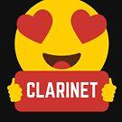 I love CLARINET Heart Eye Emoji Emoticon Funny CLARINET BAND NERD SHIRT players Graphic Tee T shirt by DesIndie