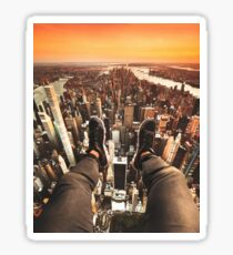 flying over manhattan Sticker