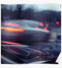 City lights cars in street at dusk Hasselblad medium format analog film Poster