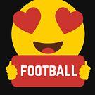 I love FOOTBALL Heart Eye Emoji Emoticon Funny FOOTBALL  SHIRT players Graphic Tee T shirt by DesIndie