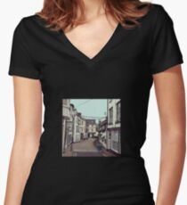 Ilfracombe Streetscape Women's Fitted V-Neck T-Shirt