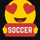 I love SOCCER Heart Eye Emoji Emoticon Funny SOCCER PLAYERS PERFORMANCE SHIRT players Graphic Tee T shirt by DesIndie