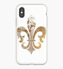 Fleur de Lis, Faux Silver+Gold Damask iPhone Case