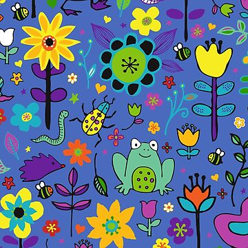 Ducks and Frogs in the Garden - Blue - fun floral pattern by Cecca Designs by Cecca-Designs