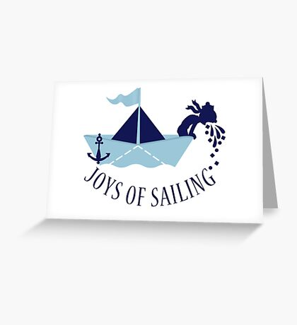 Seasick on a Paper Boat VRS2 Greeting Card