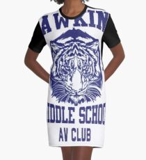 Hawkins Middle School AV Club Graphic T-Shirt Dress