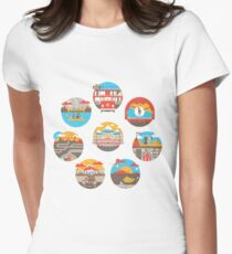 Wes Anderson Films Icon Illustrations Women's Fitted T-Shirt