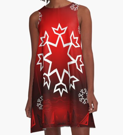 Red Xmas Snowflake design A-Line Dress