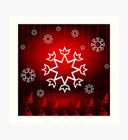 Red Xmas Snowflake design Art Print