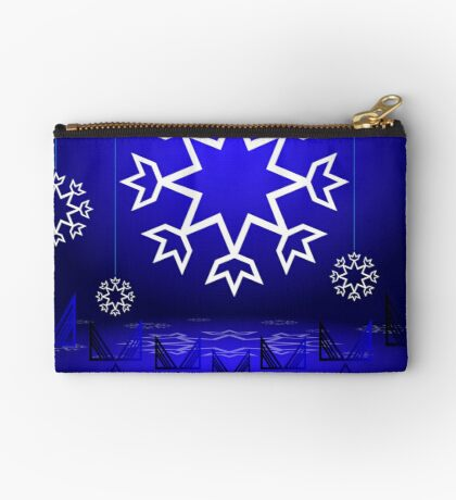Native American Xmas snowflake on blue background tipi Studio Pouch