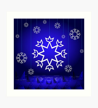 Native American Xmas snowflake on blue background tipi Art Print
