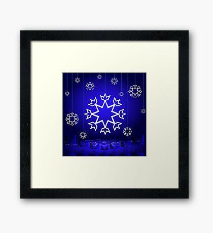 Native American Xmas snowflake on blue background tipi Framed Print