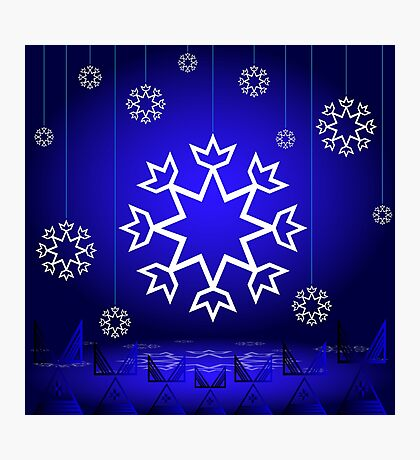 Native American Xmas snowflake on blue background tipi Photographic Print