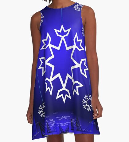 Native American Xmas snowflake on blue background tipi A-Line Dress