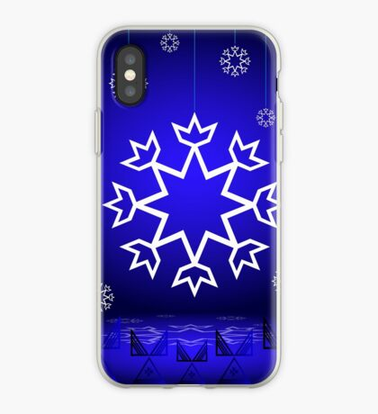 Native American Xmas snowflake on blue background tipi iPhone Case