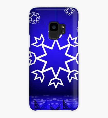 Native American Xmas snowflake on blue background tipi Case/Skin for Samsung Galaxy