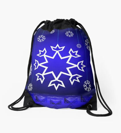 Native American Xmas snowflake on blue background tipi Drawstring Bag
