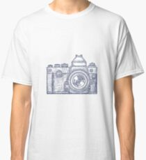Vintage Old Photo Camera logo Hand Drawn design template Classic T-Shirt