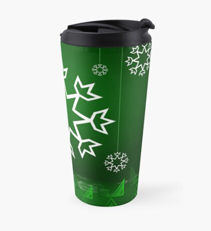 Green Xmas Snowflake with Tipi Travel Mug