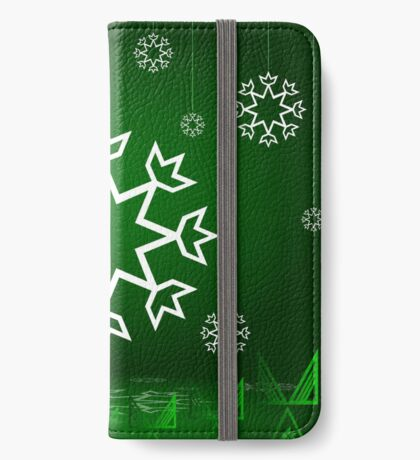 Green Xmas Snowflake with Tipi iPhone Wallet