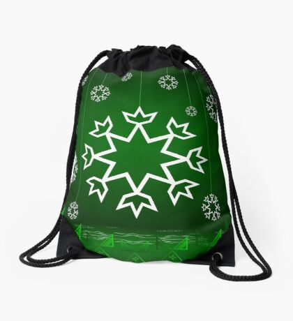 Green Xmas Snowflake with Tipi Drawstring Bag