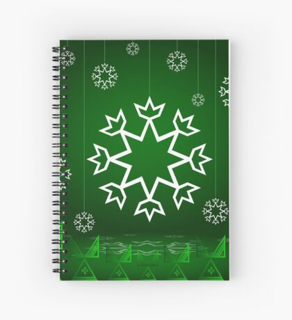 Green Xmas Snowflake with Tipi Spiral Notebook