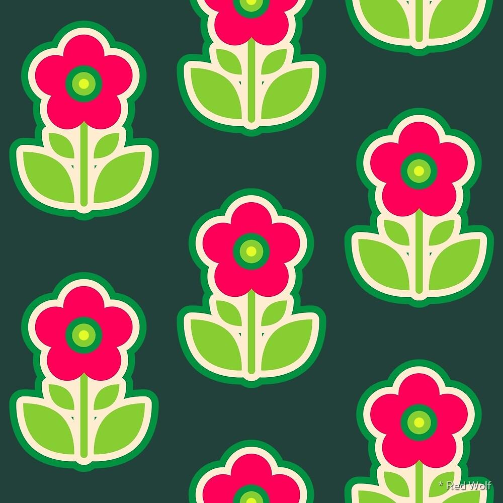 Geometric Pattern: Five Petal Flower: Pink by * Red Wolf