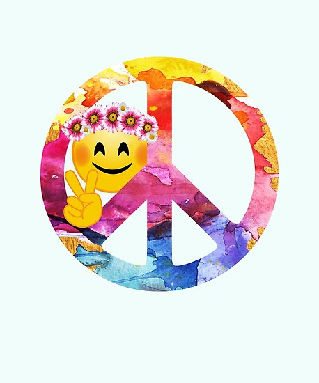 Peace Sign Emoji Face Watercolor Posters By Stylesyndikat