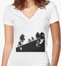 The upside down Women's Fitted V-Neck T-Shirt