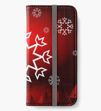 Red Xmas Snowflake design iPhone Wallet