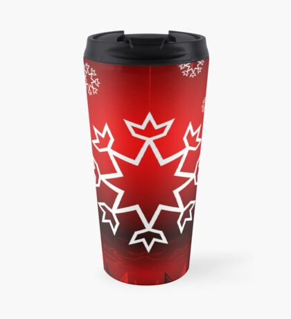 Red Xmas Snowflake design Travel Mug