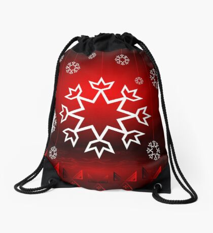 Red Xmas Snowflake design Drawstring Bag