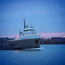 Great Lakes Freighter At Sunset by Barry W  King