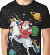 Santa Riding Unicorn T Shirt Christmas Gifts Rainbow Space Graphic T-Shirt