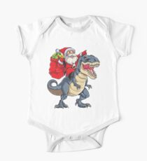 Santa Riding Dinosaur T rex T Shirt Christmas Gifts X-mas Kids Clothes