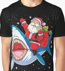 Santa Riding Shark T Shirt Christmas Gifts Galaxy Space Tees Graphic T-Shirt