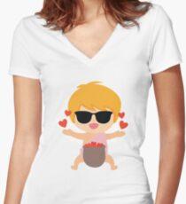 Camiseta entallada de cuello en V Cupido Emoji