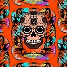 SKULL TRIBAL ORANGE by fuxart