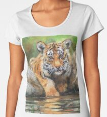 Tiger Cub. Testing The Water Women's Premium T-Shirt