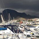Marina with brooding hill by christinawalker