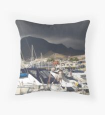 Marina with brooding hill Throw Pillow
