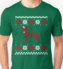 Christmas Chocolate Labrador Singing Santa Hat  T-Shirt