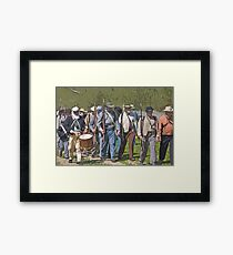 Stylized photo of Civil War re-enactor soldiers returning to camp after a battle. Framed Print