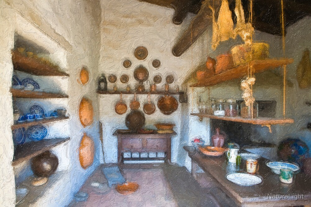 Stylized photo of the kitchen  in the adobe mansion La Casa de Estudillo in Old Town San Diego. by NaturaLight