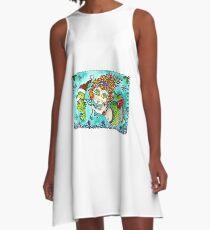 Chubby Mermaid and Seahorse Christmas A-Line Dress