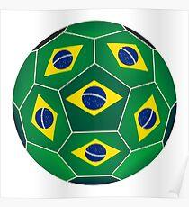 Soccer ball with Brazilian flag Poster