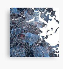 Boston Map City Colors Metal Print